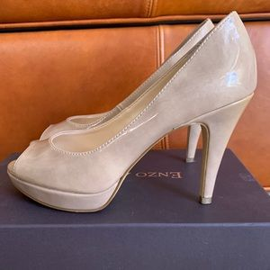 Taupe Patent Leather Open Toe Heels Enzo Angiolini